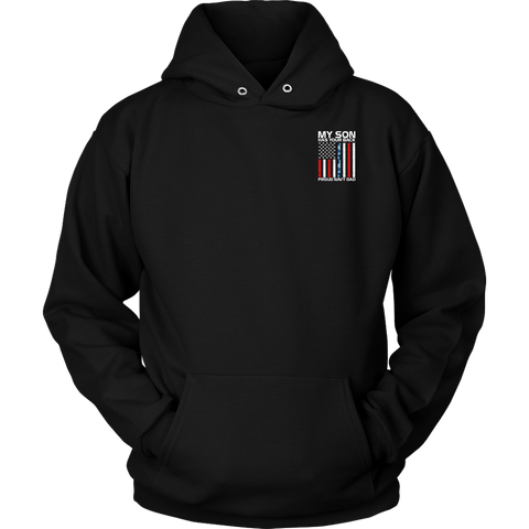 My Son Has Your Back Proud Navy Dad Navy Camo Stripe Hoodie 2 sides