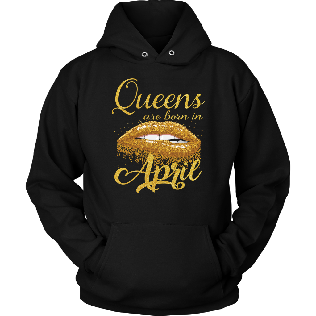 Queens Are Born in April Lips Mouth Birthday T-Shirt