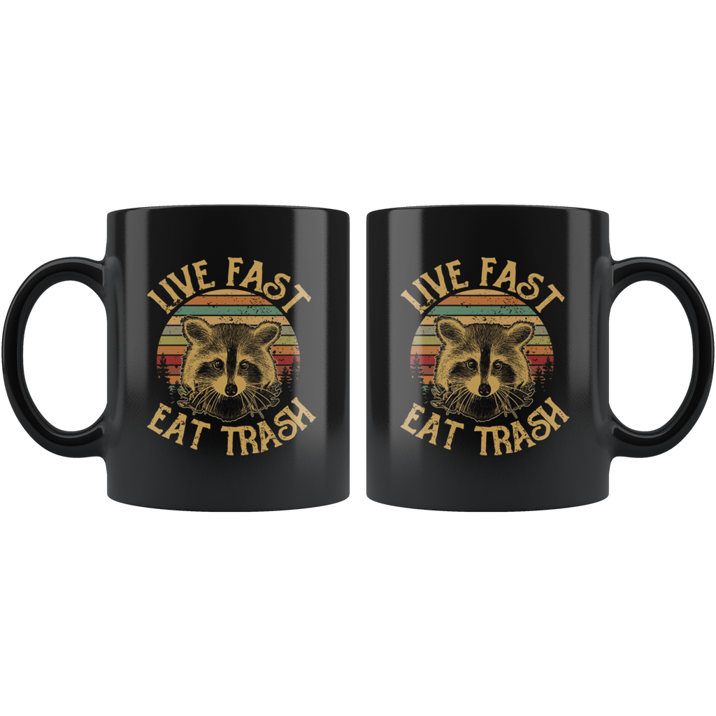Retro Sunset Live Fast Eat Trash Raccoons Mug Coffee