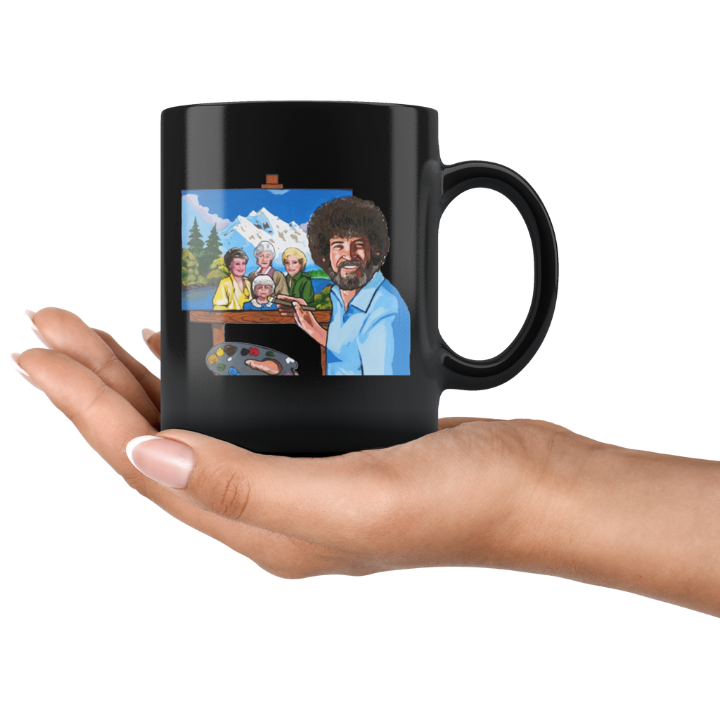 Bob Ross Painting The Golden Girls Mug Cup Coffee