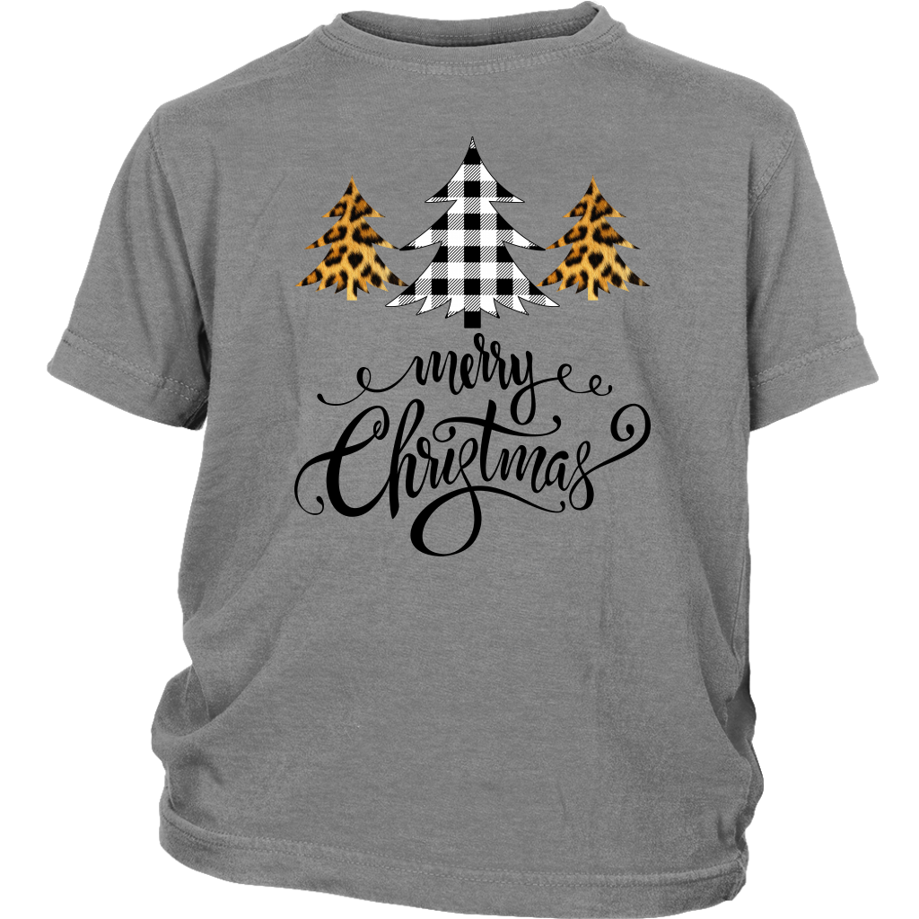 Merry Christmas Buffalo Leopard Plaid Tree Script shirts