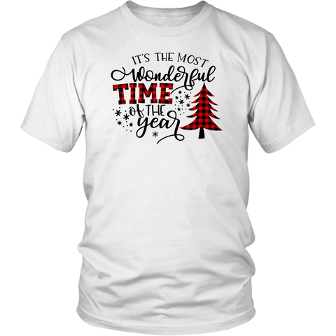 It's The Most Wonderful Time The Year Shirts Buffalo Plaid Christmas Tree
