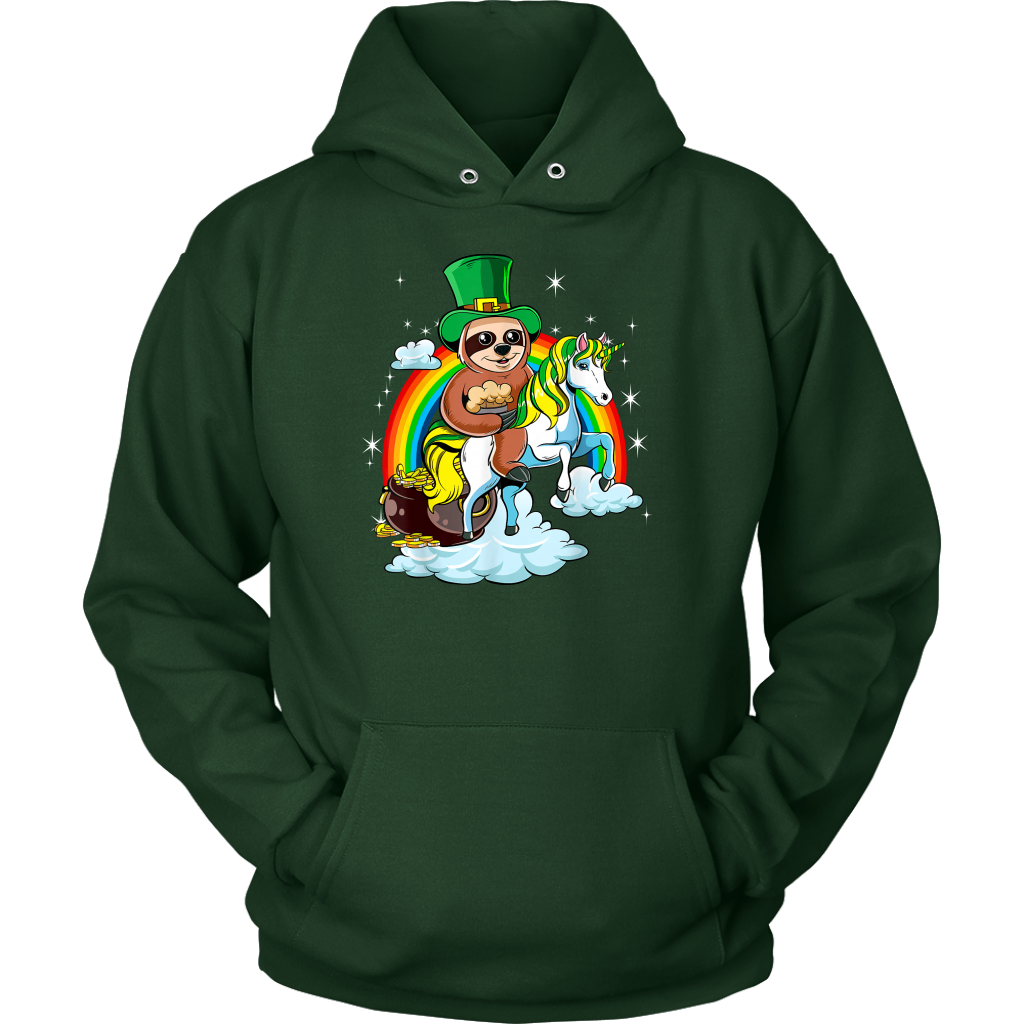 St Patricks Day Sloth Riding Unicorn T Shirt Funny
