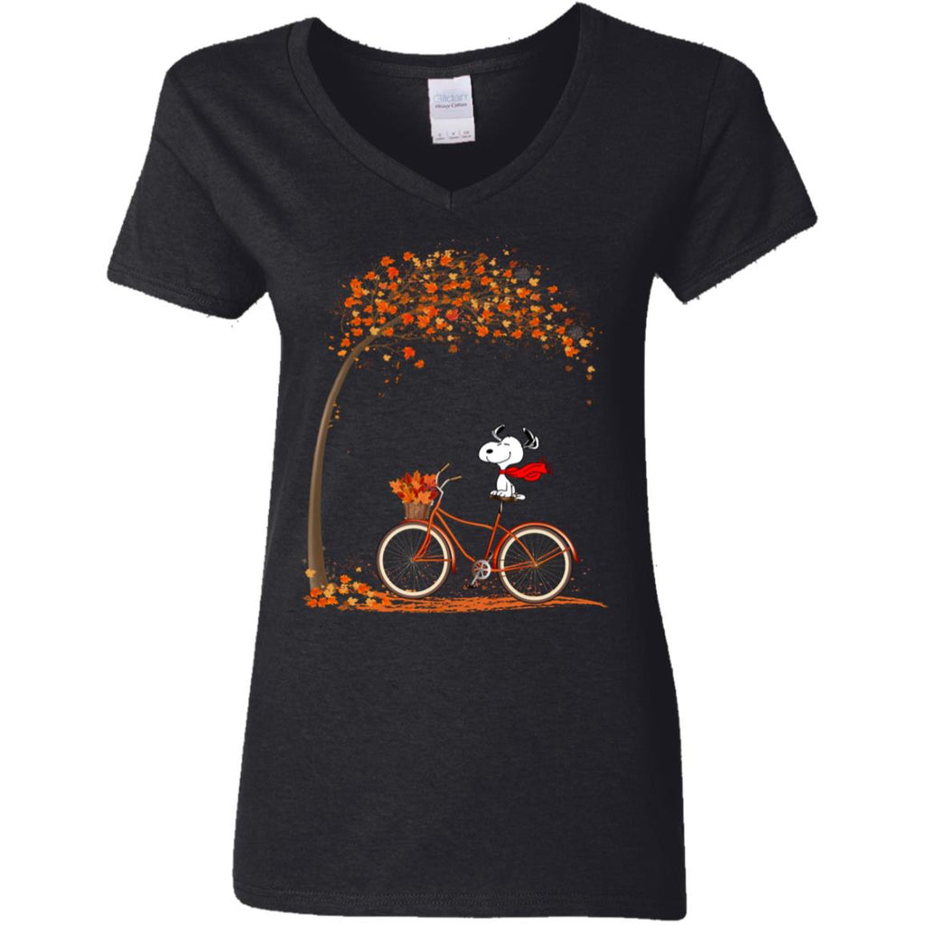 Funny Snoopy Riding Bicycle Autumn Leaf Tree shirts