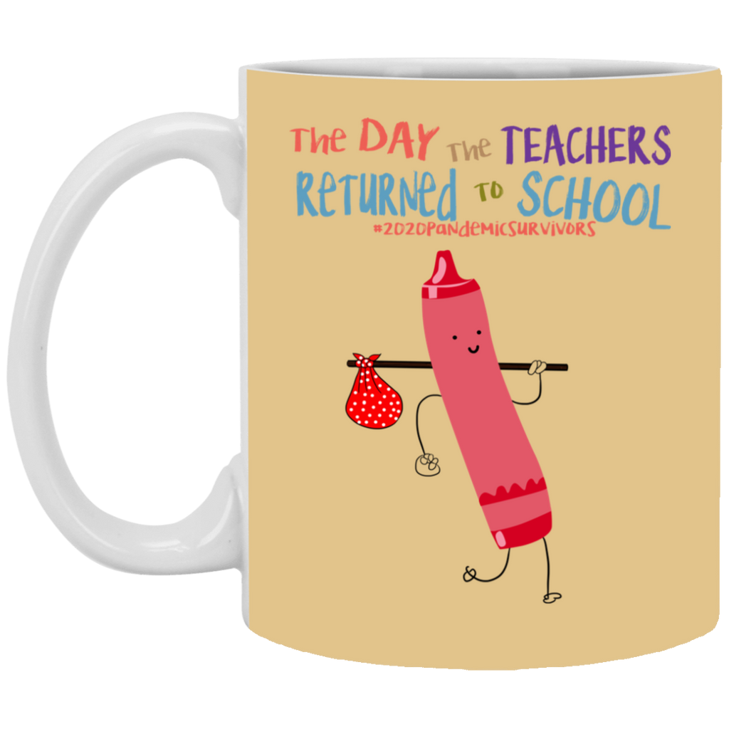 The Day The Teachers Returned To School 2020 Crayon Pink Mug Coffee Funny