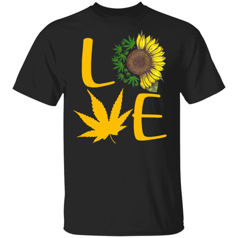 Sunflower Cannabis Weed Leaf Marijuana Love shirts