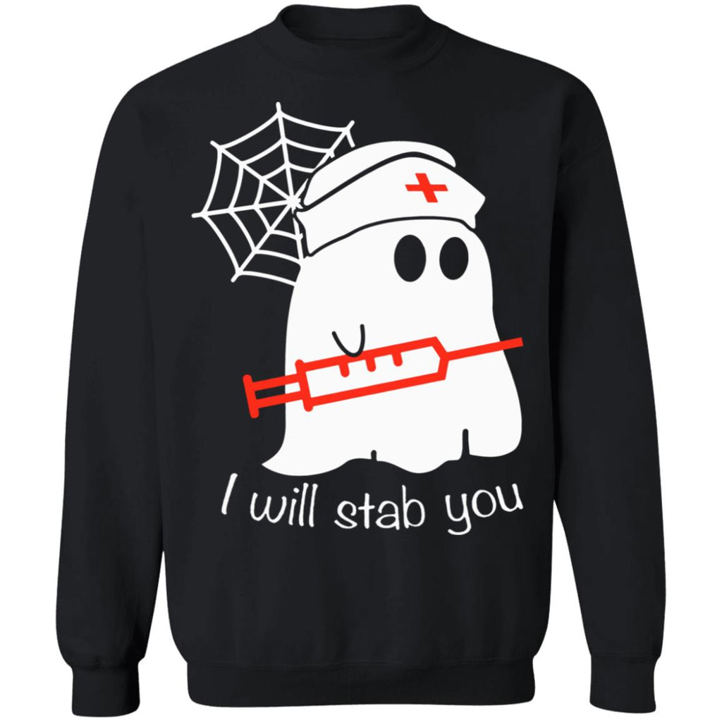 Funny Halloween Ghost Boo Nurse I Will Stab You shirts