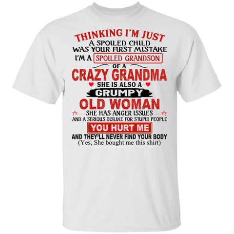 Thinking I'm Just A Spoiled Child Was Your First Mistake I'm A Spoiled Grandson Of a Crazy Grandma shirts