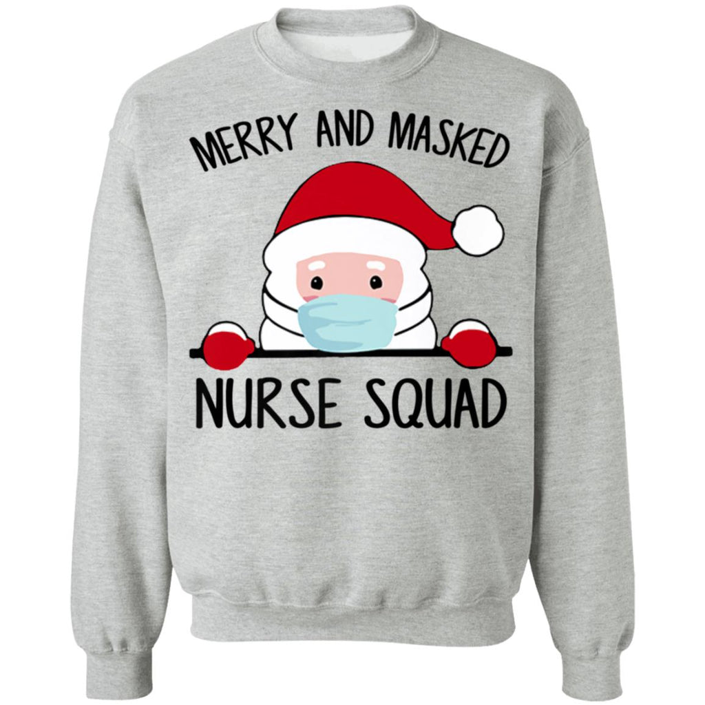Merry And Masked Nurse Squad Funny Santa Wearing Mask shirts