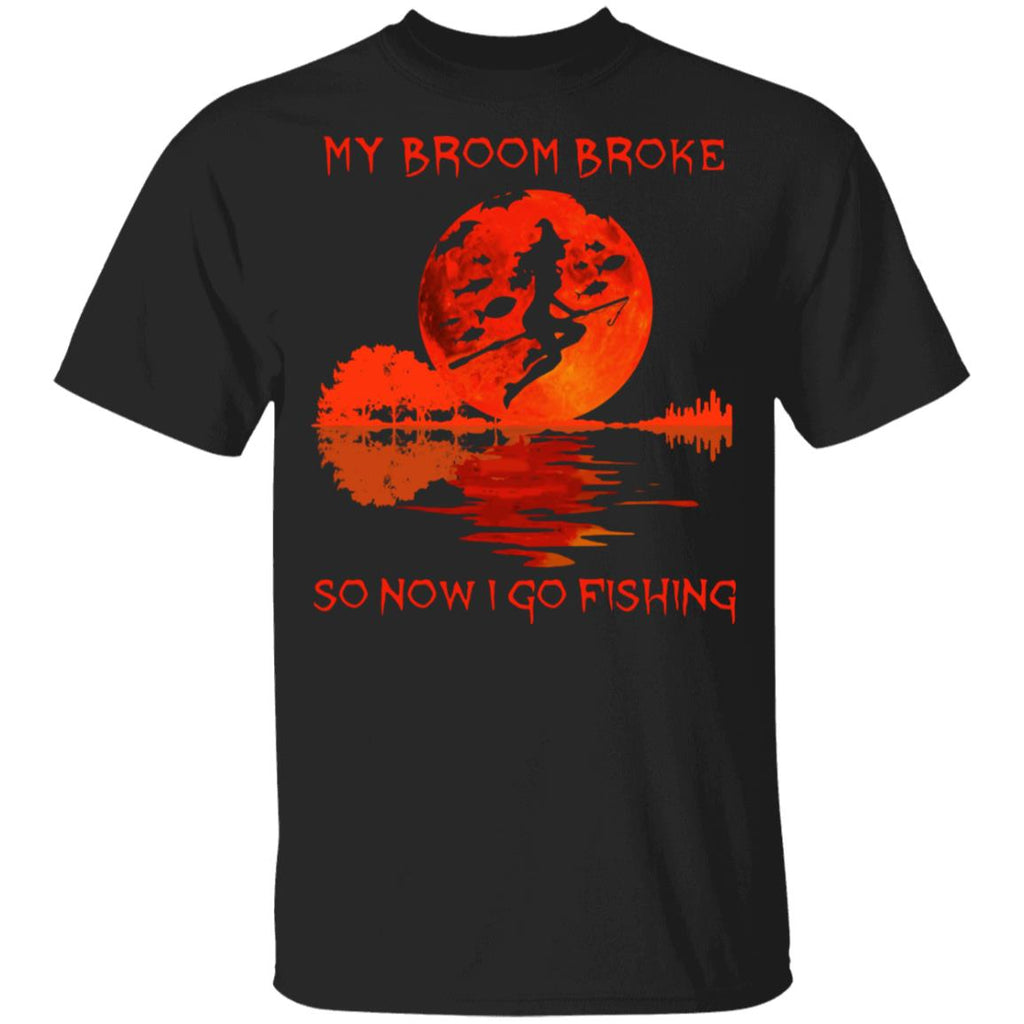 Witch My Broom Broke So Now I Go Fishing Funny Halloween Shirts