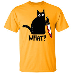 What Murderous Black Cat Holding Knife Funny Shirt