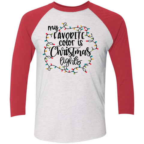 My Favorite Color Is Christmas Lights 3/4 Sleeve Baseball Raglan