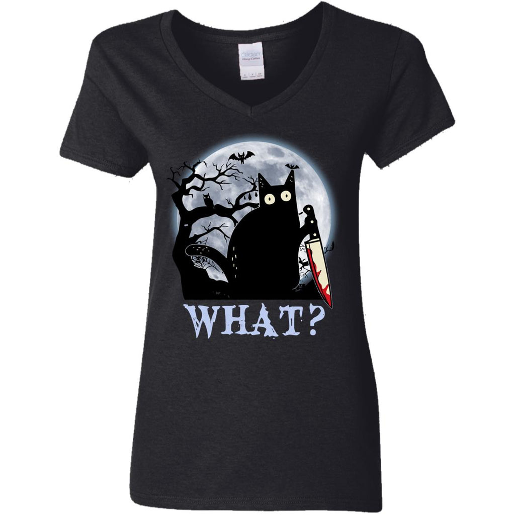 Black Cat What Murderous With Knife Funny Halloween Shirts