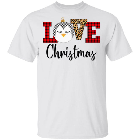 Love Christmas Penguin Plaid Funny