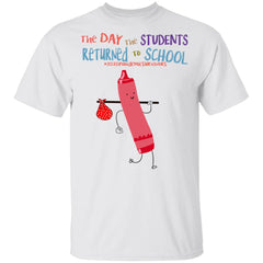 The Day The Students Returned To School 2020 Crayon Pink shirts Student Gift