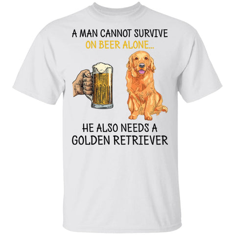A Man Cannot Survive On Beer Alone Golden Retriever Shirts