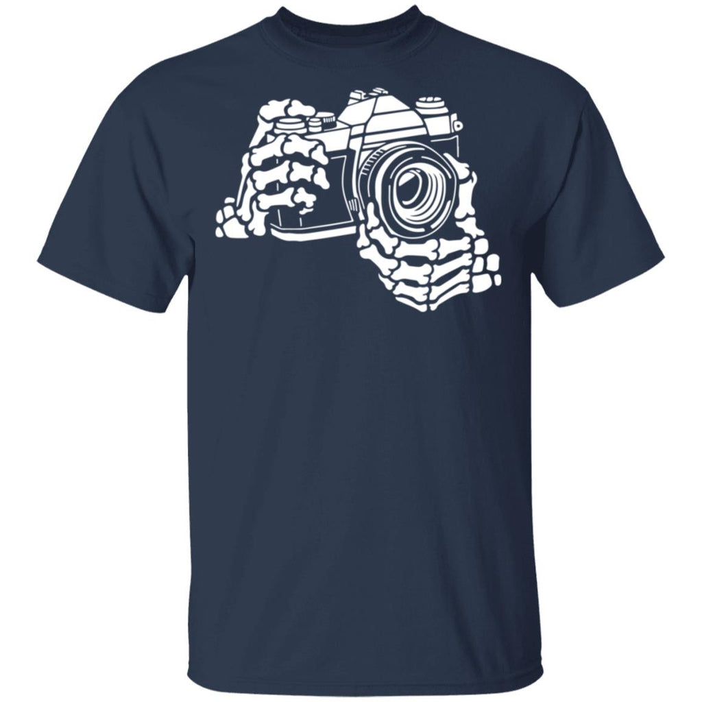 Funny Skeleton Photographer Skeleton hand with camera shirts