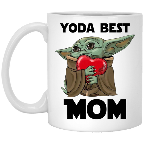 Yoda Best Mom Coffee Mug Funny Baby Yoda Hug Heart Mother Gift