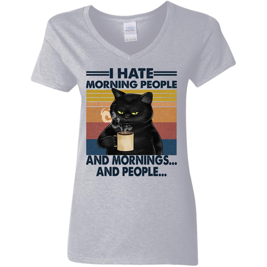 Black Cat I Hate Morning People And Mornings And People shirts