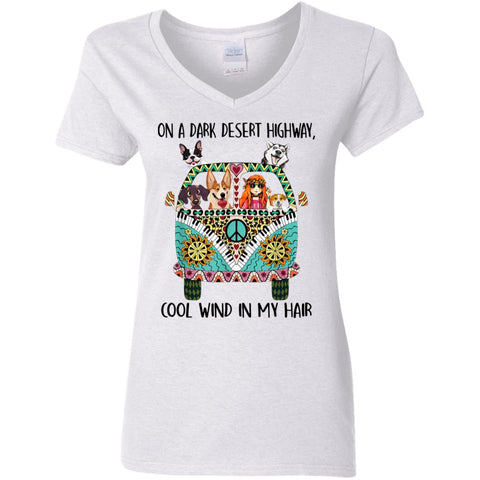 Hippie Girl Peace Bus On A Dark Desert Highway Cool Wind In My Hair v neck shirts