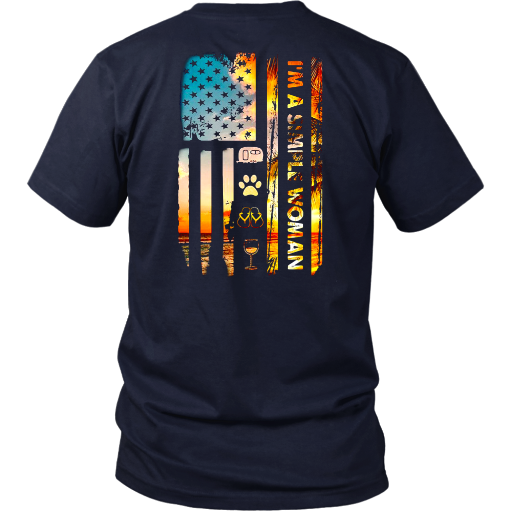 I'm a simple woman camping dog flip flop wine american flag shirt back side