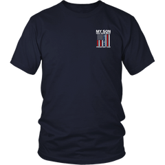 My Son Has Your Back Proud Navy Dad Navy Camo Stripe shirts 2 sides