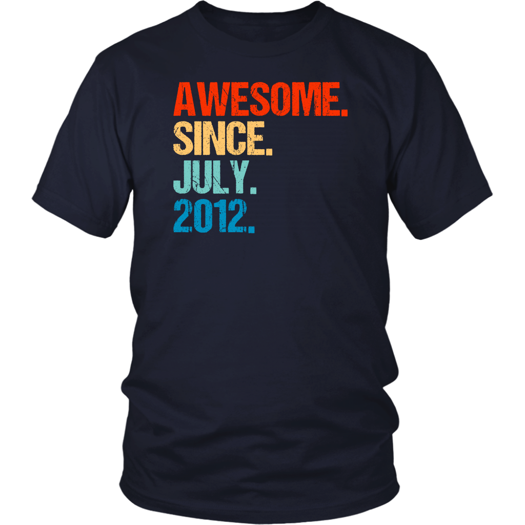 Awesome Since July 2012 7th Birthday Gift 7 Years Old Shirt