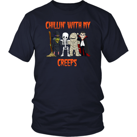 Chillin With My Creeps Vampire Halloween Skeleton Witch shirts