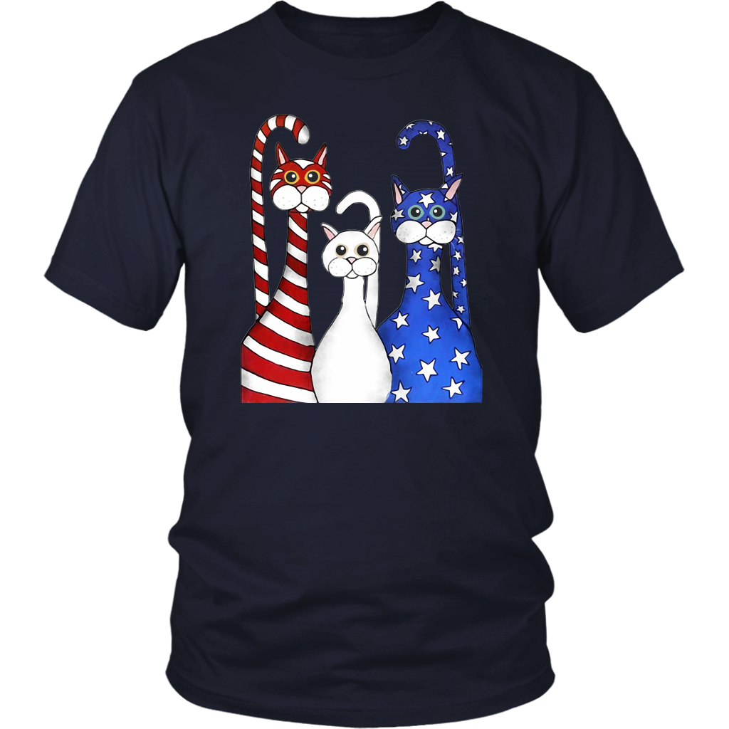 Three Cats Red White Blue American Flag shirt 4th of july