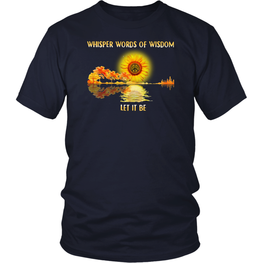 Whisper Words Of Wisdom Let It Be Jungle Guitar Hippie Sunflower shirt