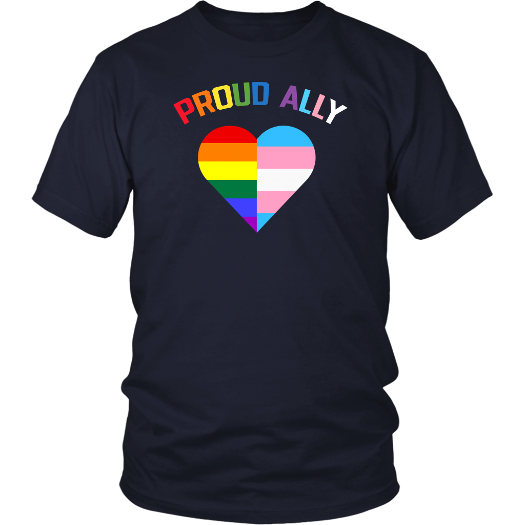 Proud Ally LGBT Rainbow Heart Pride Month shirt