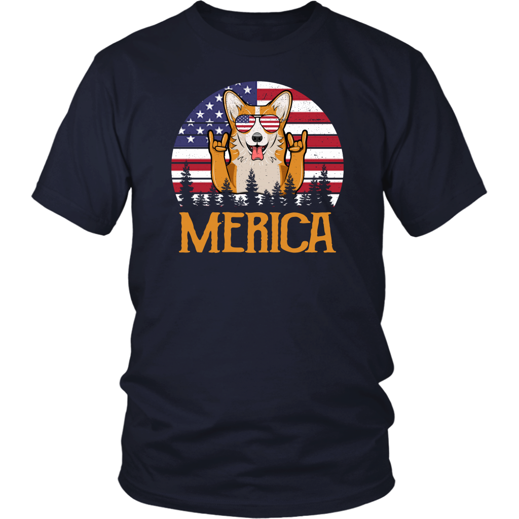 Funny Corgi Merica 4th Of July American flag shirt