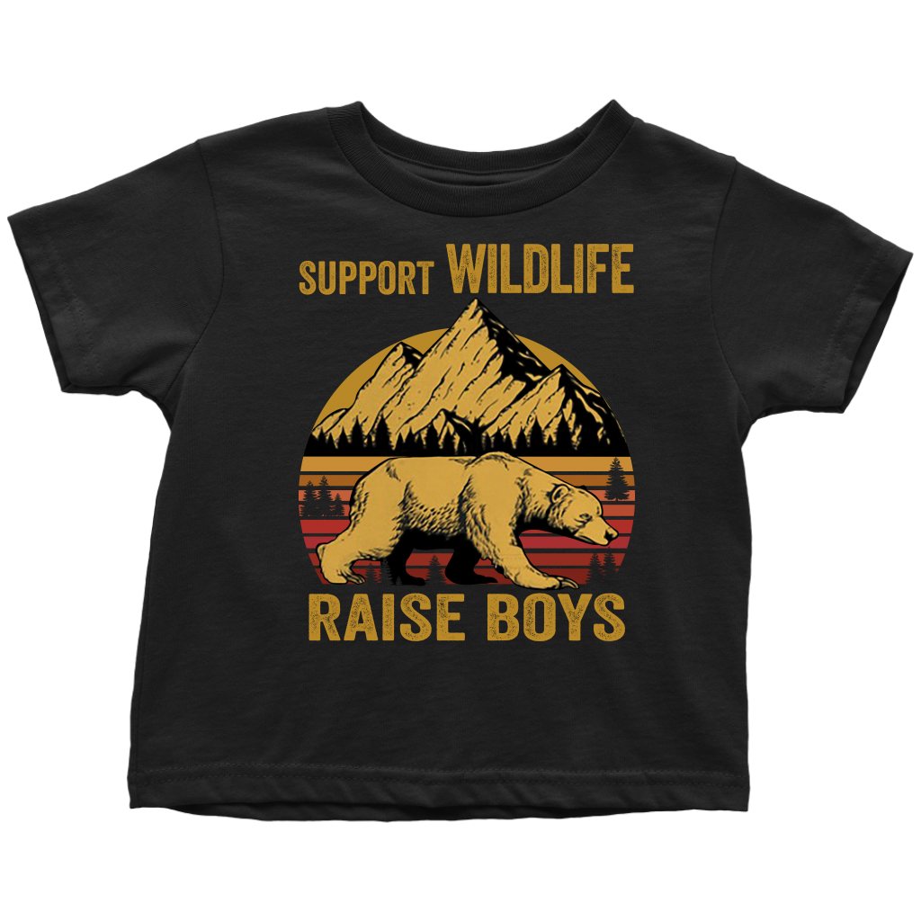 Retro Sunset Support Wildlife Raise Boys shirt Vintage
