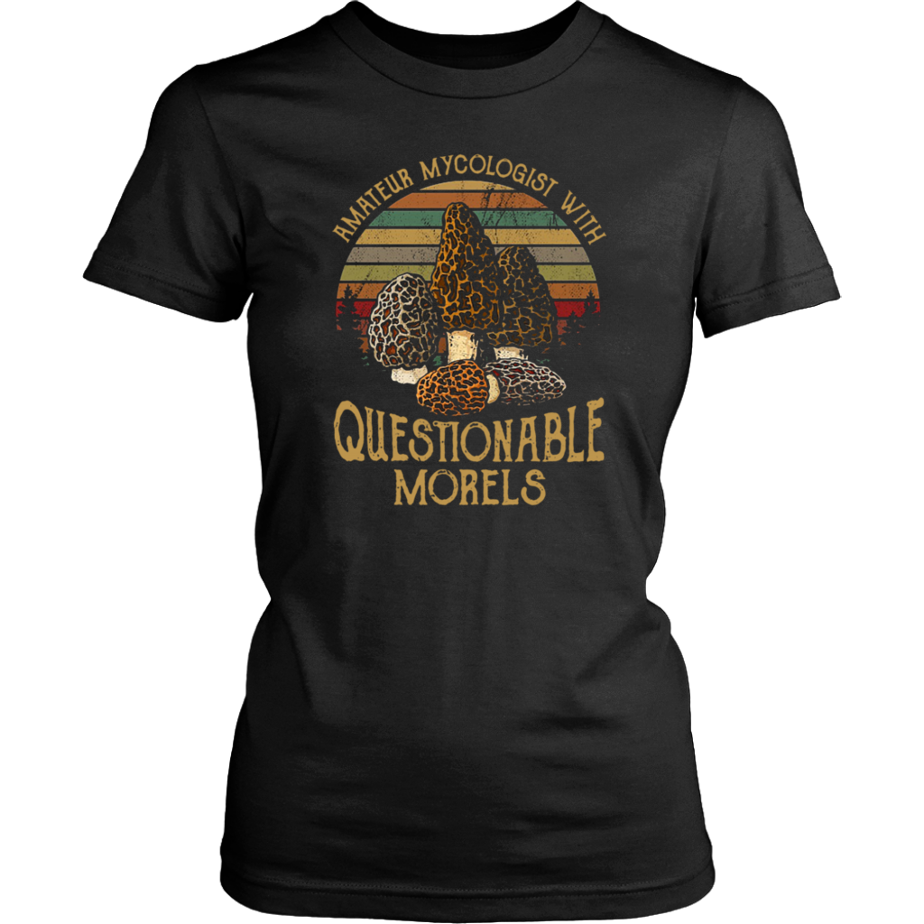 Retro Sunset Mushroom Amateur mycologist with questionable morels shirt