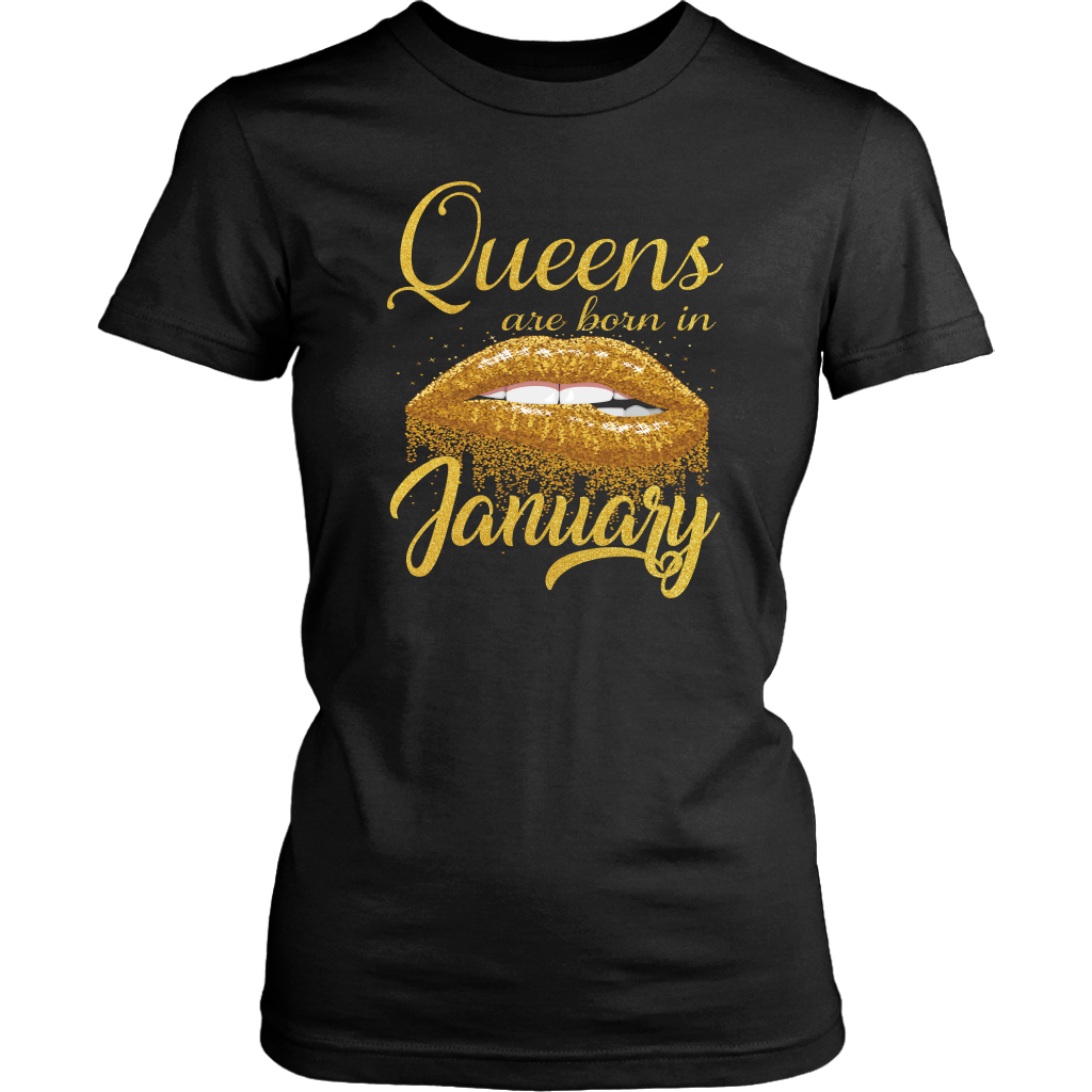 Queens Are Born in January Lips Mouth Birthday shirt