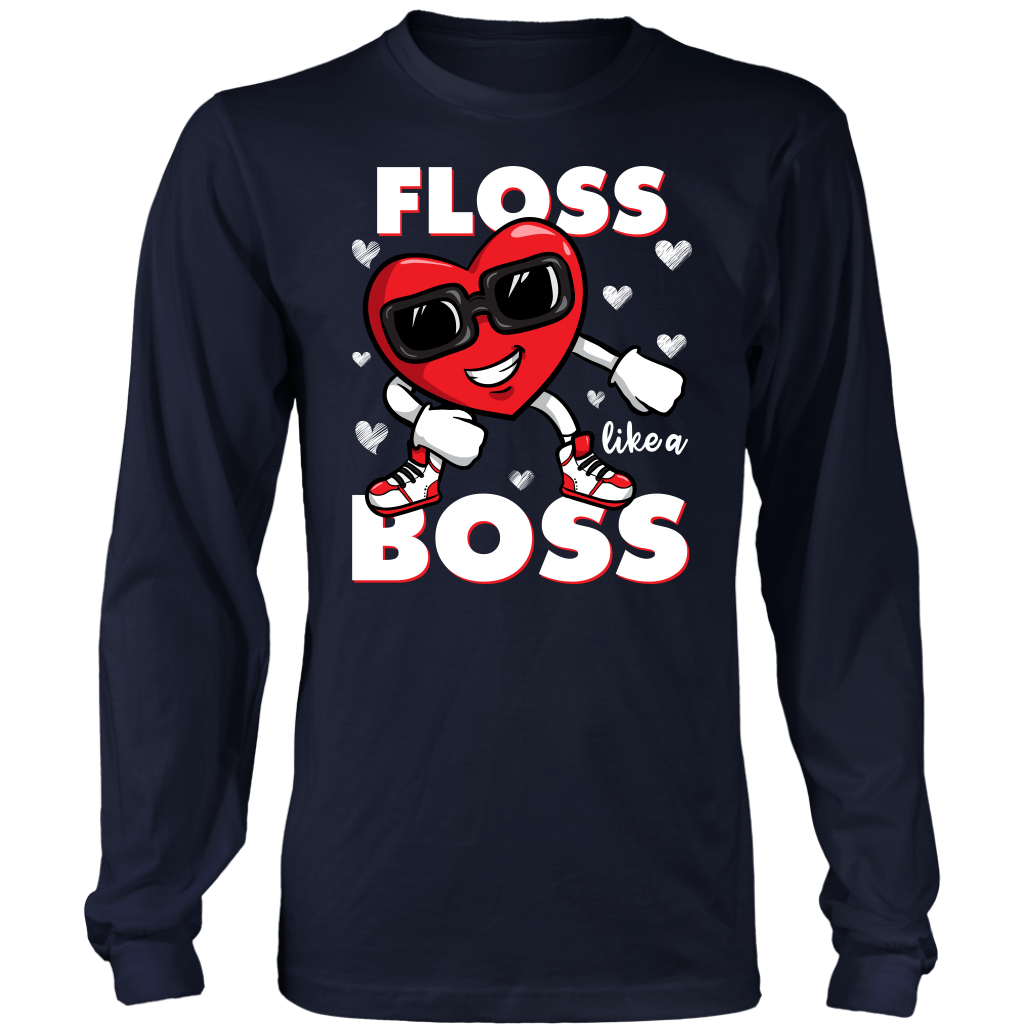 Funny Floss Like a Boss Heart Valentines Day shirt
