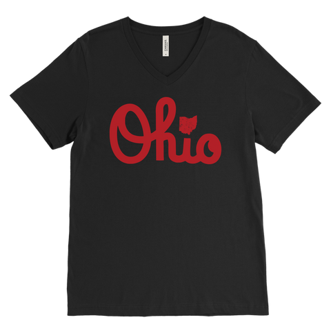 Ohio Red Script OH Map Love Home Buckeye State Shirt