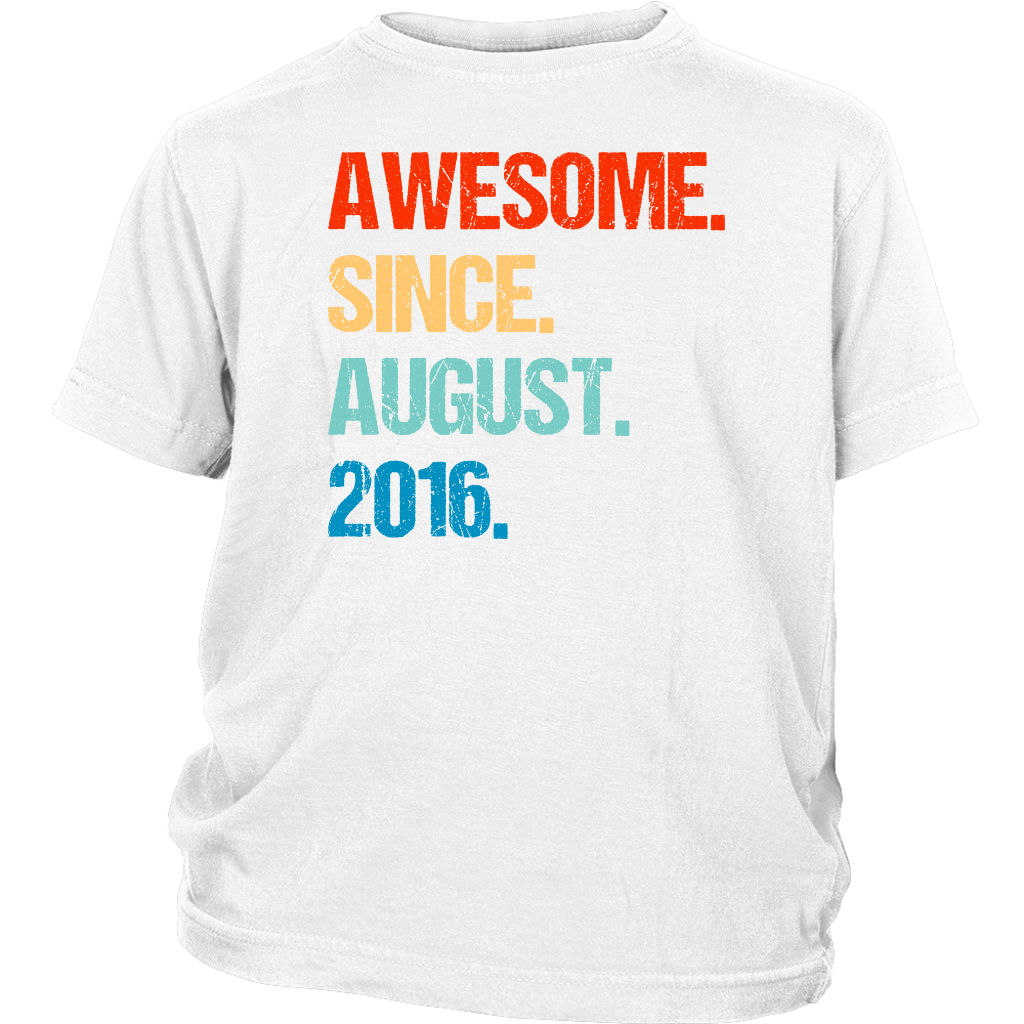 Awesome Since August 2016 3rd Birthday Gift 3 Years Old Shirt