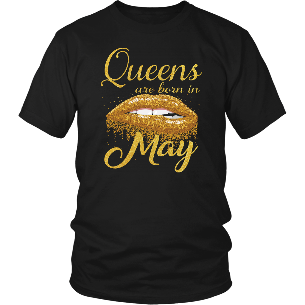 Queens Are Born in May Lips Mouth Birthday T-Shirt