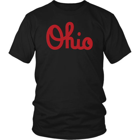 Ohio Script State Map T Shirt