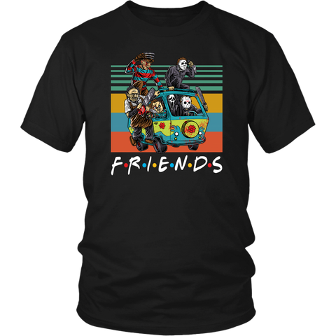 Funny Halloween Friends Massacre Machine Characters Horror shirts