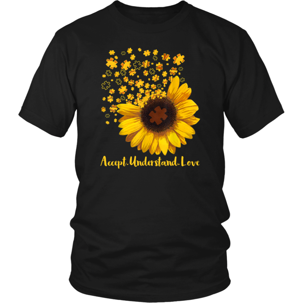 Sunflower Accept Understand Love Autism Awareness shirts