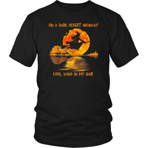 Witch Guitar On A Dark Desert Highway Cool Wind In My Hair Halloween Shirt