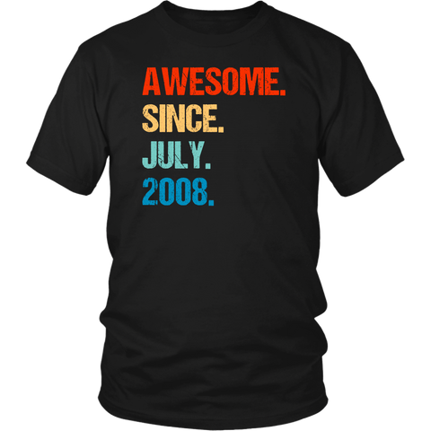Awesome Since July 2008 11th Birthday Gift 11 Years Old Shirts
