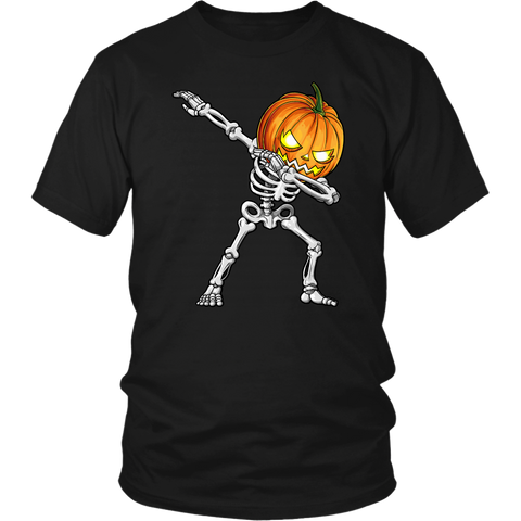 Halloween Dabbing Skeleton Pumpkin T Shirts