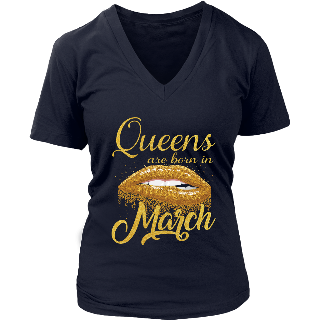 Queens Are Born In March Lips Mouth Birthday T-Shirt