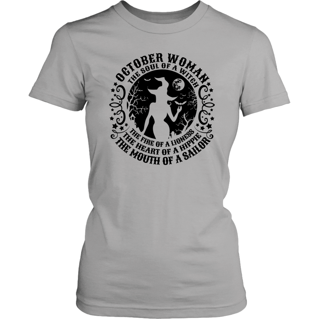 October Woman The Soul Of A Witch T Shirt Birthday Halloween Gift