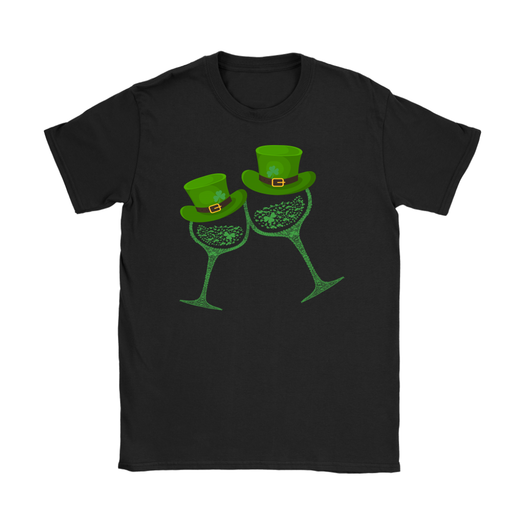 Shamrocks Clover Wine Glass St Patricks Day Hat shirt Irish