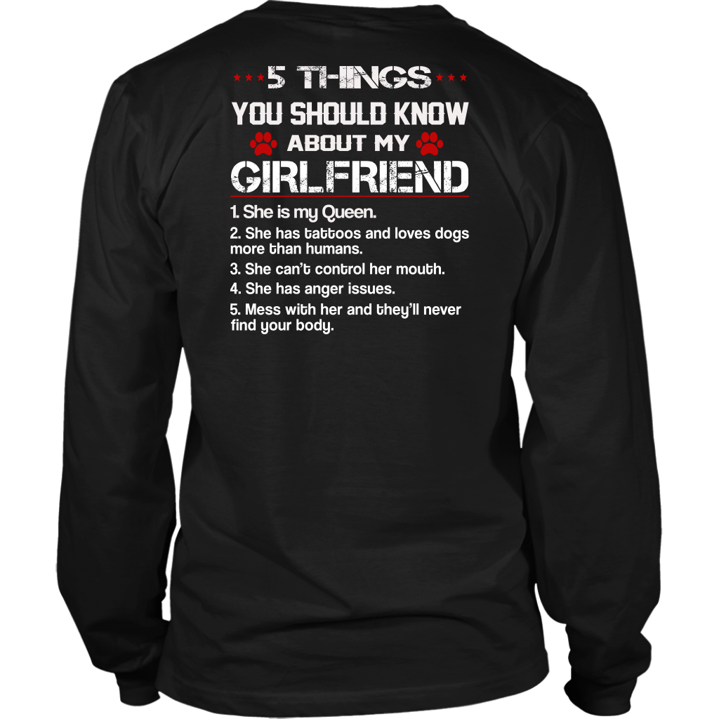 5 Things You Should Know About My Girlfriend shirt back side