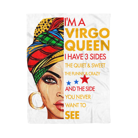 Fleece Blanket I'm A Virgo Queen I Have 3 Sides Virgo Funny Birthday